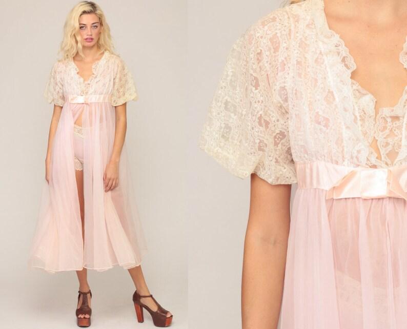 9da4cd198e7 Sheer Robe Long Lingerie Jacket 70s LACE Baby Pink Pastel Robe