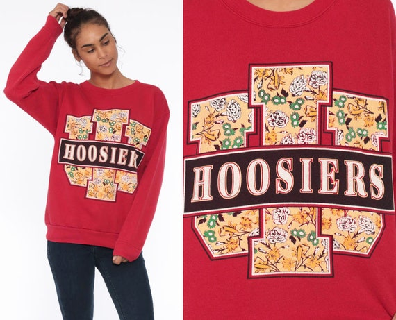 80s Indiana Hoosiers Sweatshirt -- University Red Floral 90s Graphic Retro College Baggy Pullover Jumper Crewneck Vintage Medium Large