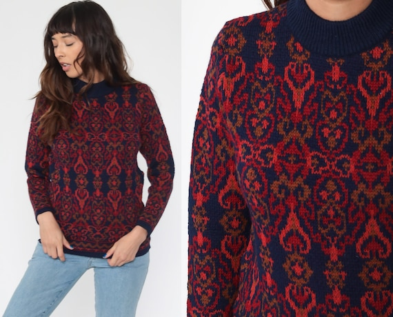 Wool Sweater Top 70s Boho Mod Knit Red Navy Blue Geometric Damask Wallpaper Print Vintage 1970s Bohemian Extra Small xs s