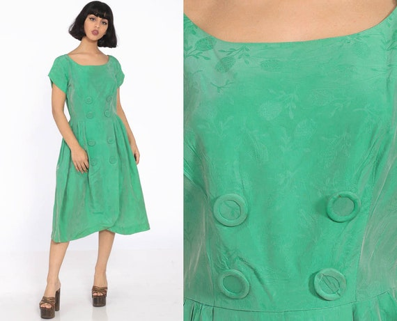 1960s Party Dress Green Taffeta Prom Dress 60s Tea Length Formal Midi Fit and Flare Vintage Mad Men Cocktail 50s Full Skirt Small