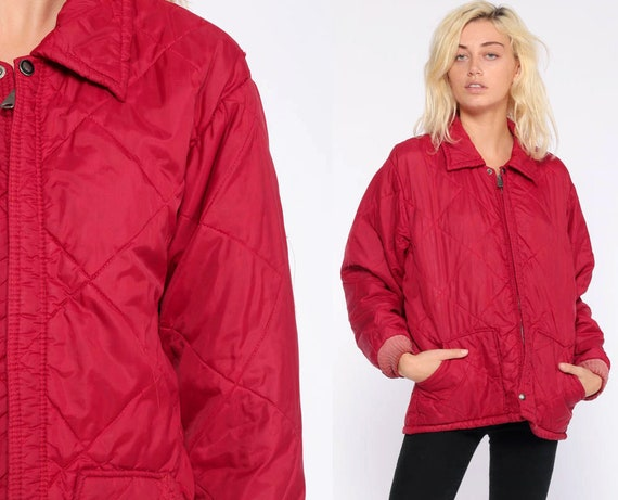 Red Quilted Jacket 80s Red Winter Coat Ski Jacket Puffy Retro Coat 1980s Hipster Nylon Vintage Puff Medium Large