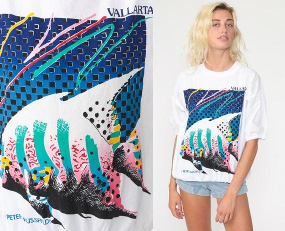 Tropical Fish Shirt Puerto Vallarta Tshirt 80s Peter Mussfeldt Top Graphic T Shirt Vintage Under The Sea Slouchy 90s Shirt Small Medium