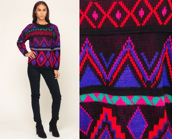 Neon Sweater Tribal Sweater 80s Aztec Geometric Print Boho Bright Slouchy Bohemian Vintage Black Red Pullover Jumper Knit Small Medium