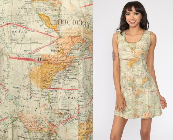Map Print Dress 90s Mini Dress Atlas World Map Dre