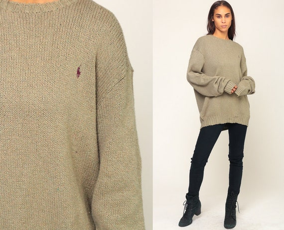 Ralph Lauren Sweater 90s Polo Sport Cotton Knit Taupe Slouchy Preppy Hipster Boho Pullover Jumper Vintage Plain Extra Large xl 2xl xxl