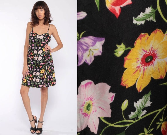 90s Floral Dress Grunge Sundress Black Boho Mini BUTTON UP Sheath 1990s Vintage Summer Sleeveless Sundress Small Medium