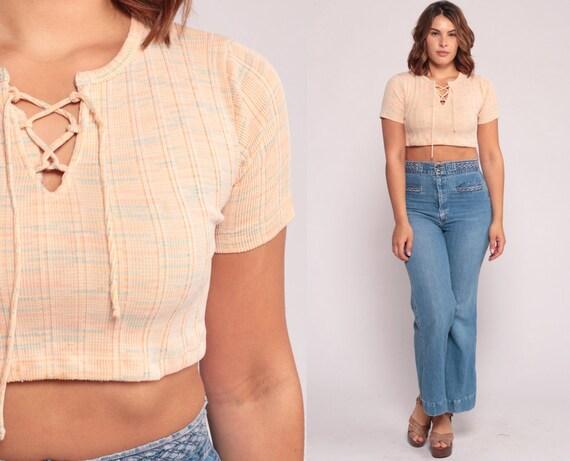 Crop Top Bohemian Shirt CORSET Lace Up Blouse 70s Hippie Festival Boho Top Peach Space Dye 1970s V Neck Vintage Short Sleeve Medium Large