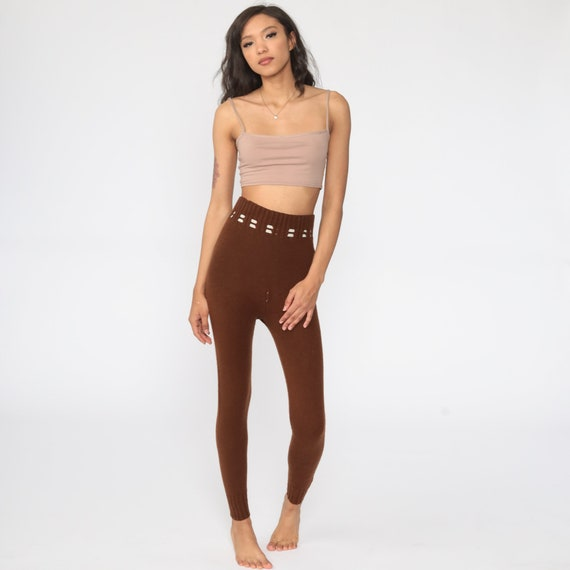 70s Knit Pants Brown Knit Leggings High Waisted P… - image 2