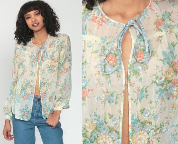Sheer Floral Blouse 70s Boho Blouse Open Front Shirt Romantic Top Gauze 1970s Bohemian Hippie Top Vintage Shirt Small Medium
