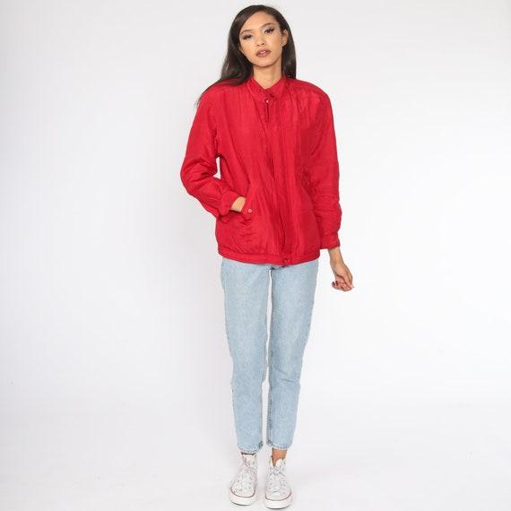 Red Silk Jacket Windbreaker Jacket 1980s Retro 80… - image 2