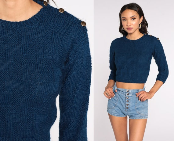 80s Cropped Sweater Knit Textured Navy Blue Sweater Slouch Short 1980s Jumper Vintage Pullover Retro Extra Small xs Petite