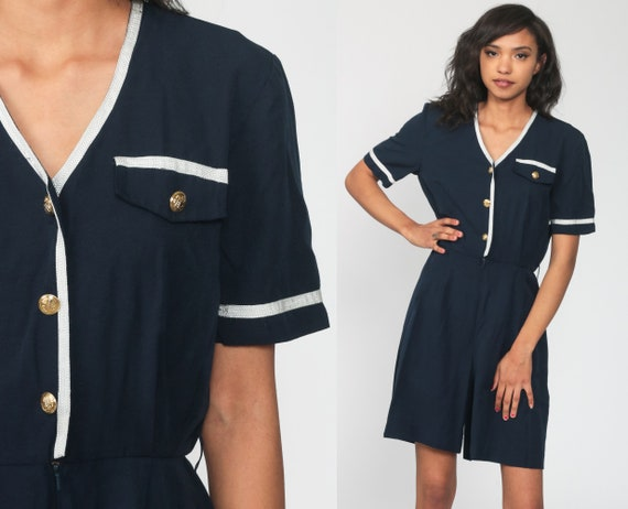 90s Playsuit Navy Blue Romper Outfit One Piece Woman 1990s Mini Dress Wide Leg Button Up Short Sleeve Small s