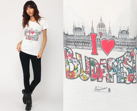 Budapest Shirt Retro TShirt I HEART BUDAPEST Shirt Vintage T Shirt 80s Travel Tee Graphic Tshirt Tourist Shirt 70s Print Europe Small