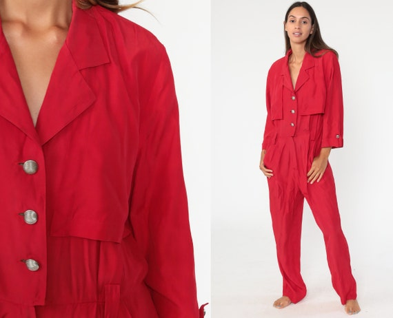 90s Jumpsuit Plain Red Red Tapered Pant Button Up High Waisted 1990s Vintage Pantsuit Short Sleeve Straight Leg Medium