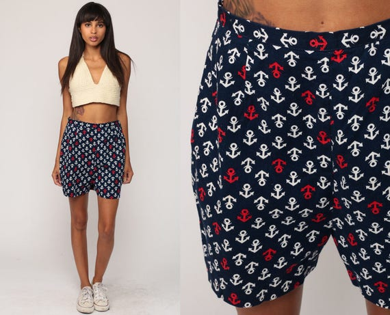 Nautical Shorts ANCHOR PRINT High Waist SAILOR Shorts 60s Navy Blue Preppy Summer 1960s Vintage High Waist Hipster Red White Small