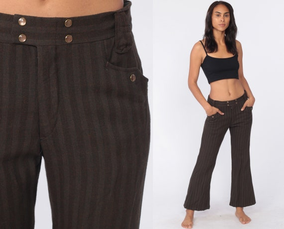 70s Bell Bottoms Pants -- Western Brown Striped Trousers Boho Hippie Bellbottom Pants Mid Rise 1970s Vintage Bohemian Small