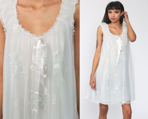 Baby Blue Nightgown Lingerie Slip Dress 70s Embroidered Babydoll Mini Pastel Nightie Tent Filmy Chiffon Nylon 1970s Vintage Small Medium