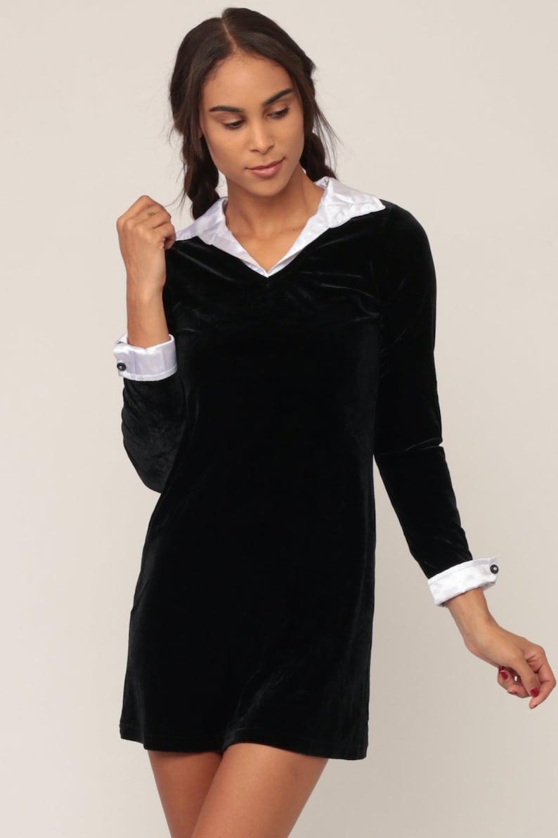 Velvet Mini Dress 90s Party Black Goth Wednesday Addams White Etsy