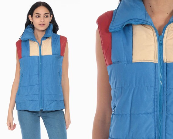 Sleeveless Jacket Ski Vest Puffer Vest 70s Vest Puffy Retro Winter Color Blocke Rust Tan Vest 80s Hipster Vintage 1970s Medium Large