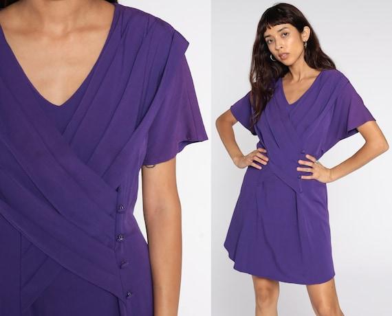 80s Mini Dress Purple Pleated Wrap Dress Short Sleeve Dress 1980s Vintage Shift Retro Secretary Plain Extra Large xl