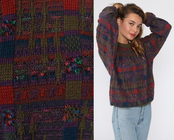 80s Sweater Purple Geometric Checkered Sweater Print Knit Olive Green 1980s Statement Grunge Vintage Pullover Medium
