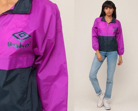 90s Windbreaker Jacket UMBRO Jacket Nylon Shell Purple Navy Blue Zip Up Jacket Hipster Vintage Retro Streetwear Sports Extra Small xs