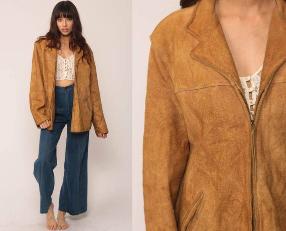 70s Suede Jacket Brown Leather Jacket Bohemian Coat Boho Hippie Collared 1970s Vintage Hipster Zip Up Large