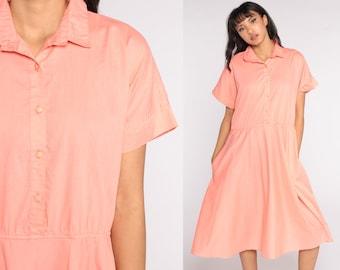 Peach Shirt Dress Midi 80s Shirtwaist Cotton Short Sleeve Shirtdress Button Up High Waisted 1980s Vintage Plain Secretary Extra Large xl