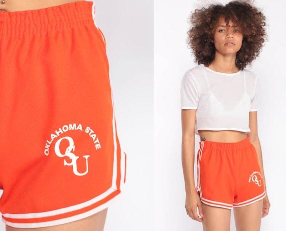 Jogging Shorts OKLAHOMA STATE UNIVERSITY Hotpants Osu 80s Running Gym Colleget High Waist Retro Joggers Sports Vintage Orange Extra Small xs