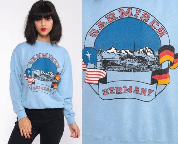 Garmisch Germany Sweatshirt 80s Mountain Shirt Baby Blue Retro Pullover 1980s Graphic Slouch Raglan Small Medium