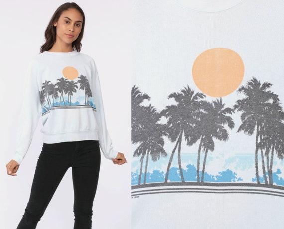 Beach Sweatshirt PALM TREES Shirt Surfer Shirt 80s Baby Blue Raglan Sleeve 1980s Vintage Slouchy Graphic Long Sleeve Ocean Small Medium