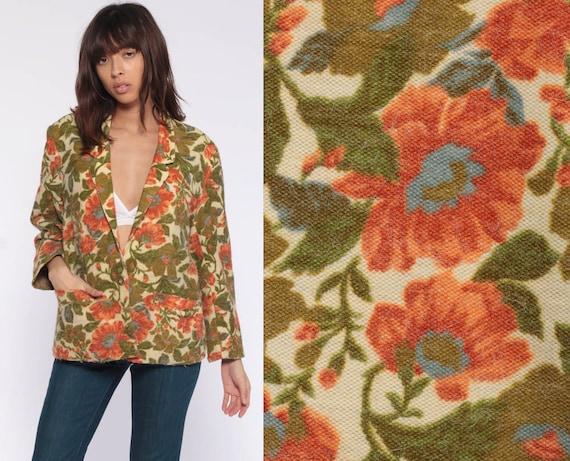 Floral Blazer Jacket 70s 80s Floral Jacket 70s Boho Hippie Jacket Secretary Green 1970s Bohemian Vintage Festival Blazer Medium Large