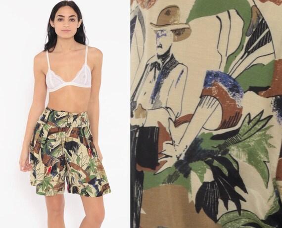 Tropical Pleated Shorts xs 80s Shorts Mom Shorts Baggy Summer High Waist Retro Vacation Novelty Print 90s Jungle Vintage Extra Small xs 24