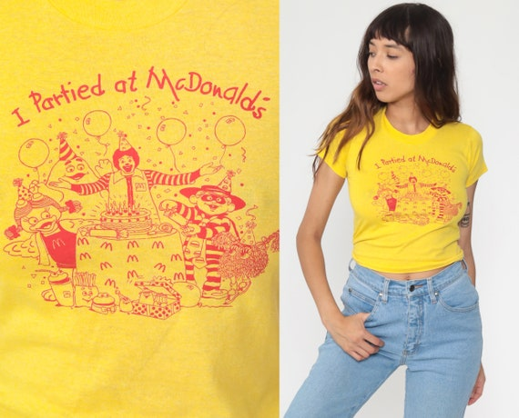 Vintage McDonald's Shirt -- I Partied At McDonald's 80s Ronald Graphic Tee 1980s Fast Food Nostalgia Burger Single Stitch Extra Small 2xs