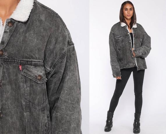 Black Levis Jacket SHERPA Jacket USA Denim Grey Shearling Jacket 80s Jean Faded Black Levi Fleece Coat Snap Up 1980s Vintage Extra Large xl