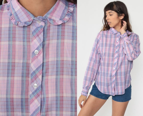 Purple Plaid Blouse 80s Button Up Shirt Purple Checkered Print Long Sleeve Top Peter Pan Collar Shirt 1980s Vintage Cotton Small Medium