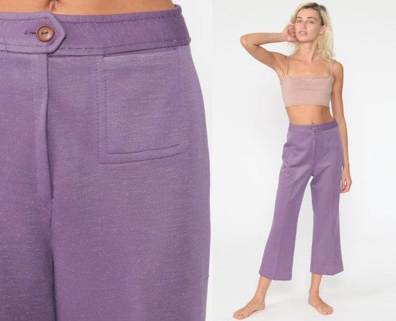 70s BELL BOTTOM Pants -- Purple Trousers 1970s High Waisted Trousers Disco Boho Flared 1970s High Waist Hippie Vintage Bohemian Small s 4