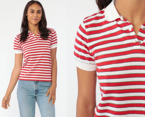 Red Polo Shirt 80s Striped Shirt Half Button Up Shirt Retro Tshirt Collared Red White 1980s Nerd Geek Vintage Short Sleeve Small