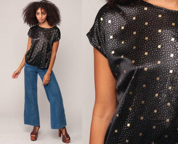 Metallic Blouse Silky BLACK + GOLD Top 80s Shirt Cap Sleeve Polka Dot Disco Top Glam 1980s Vintage Shiny Medium Large