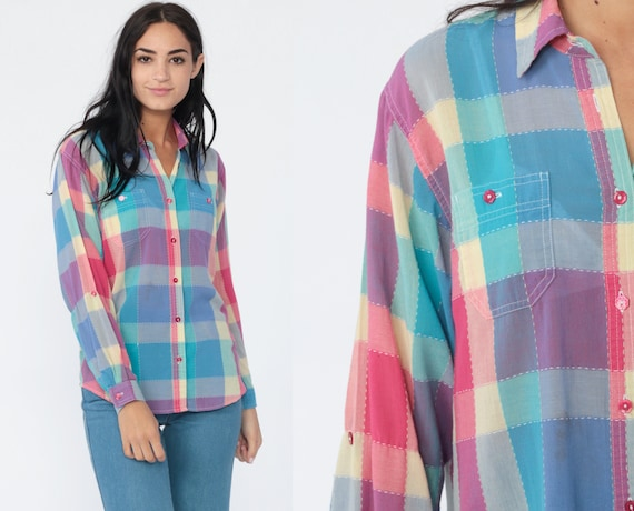 Bright Plaid Shirt 80s Button Up Blouse Pink Blue Checkered Print Long Sleeve Boho 1980s Top Vintage Cotton Medium