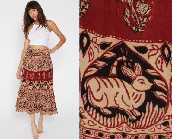 Rabbit Wrap Skirt 70s Boho Skirt 70s Hippie Indian Maxi Ethnic Wrap 1970s Cotton BIRD Bohemian Batik High Waist Vintage Red Small Medium XS