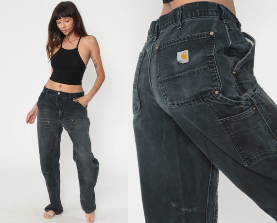 Black Carhartt Pants 34 x 33 -- Workwear Work Pants Jeans 90s Baggy Dungaree Cargo Work Pants Wide Leg Denim Pants Vintage Medium