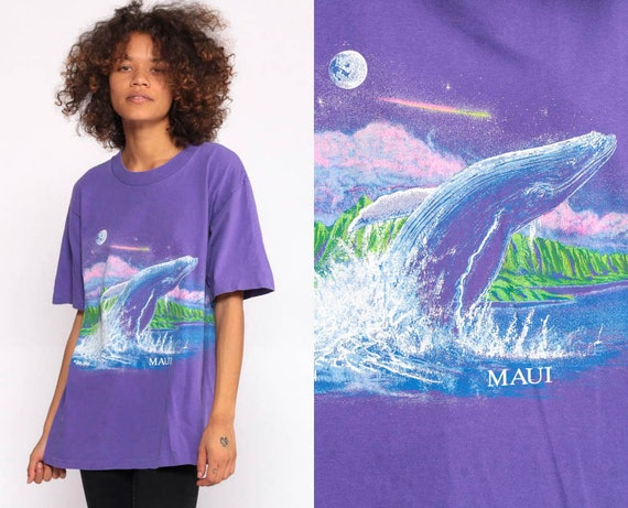 Whale Shirt Maui Shirt Animal 90s Shirt Graphic TShirt Purple Moon Blue Whale Shirt Under The Sea Beach Tee Vintage Mystical Medium Large