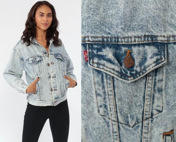 Vintage Levi Jacket 80s Denim Jacket Levis ACID WASH Jean Grunge Trucker Button Up Light Blue 90s Hipster Oversized Levi Strauss Small