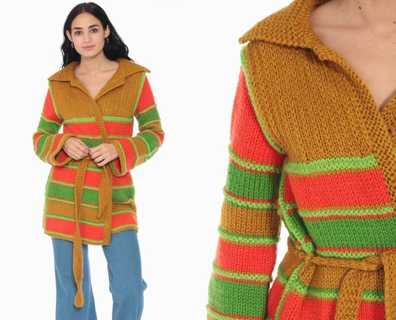 Striped Wrap Sweater Mustard 70s Boho Sweater Neon Orange Lime Green BELTED Bohemian Cardigan Vintage Knit 1970s Hippie Small Medium