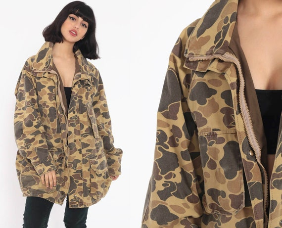 Camo Hunting Jacket Camouflage Jacket Army Military Olive Drab Grunge 80s Commando Cargo Field Vintage Goth Extra Large xl