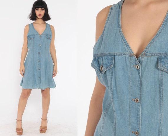 Denim Mini Dress 90s Jean Jumper Button Up 1990s Grunge Collared Blue Normcore Vintage Minidress Sleeveless Sheath Medium