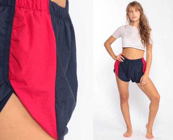 Swim Trunks 90s Bathing Suit Shorts Vintage Blue Red Striped 1990s Hipster Swimsuit Swim Shorts Vintage Retro Medium