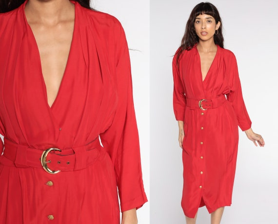 Red V Neck Dress 80s Midi High Waist Shift Dress Button Up 1980s Vintage Plunge Neckline Plunging Long Sleeve Small