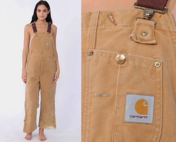 Insulated Carhartt Overalls Workwear Coveralls Pants QUILTED Cargo Dungarees Light Brown Suspender Pants Long Work Wear Bib Vintage Medium